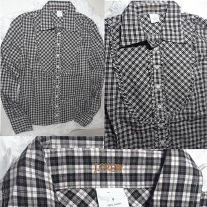 J.Crew Plaid Ruffle Bib Button Front Shirt-Size 6